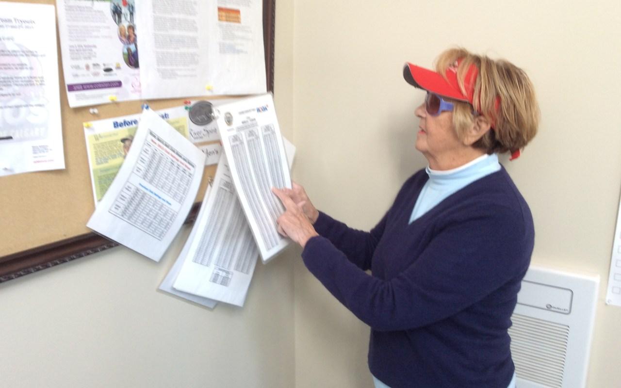 Maureen O'Shea looking at the slope and rating