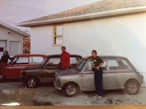 Colleen, Doc and Murray with the three cars they drove to the Mini Meet in Denver, CO in July, 1981