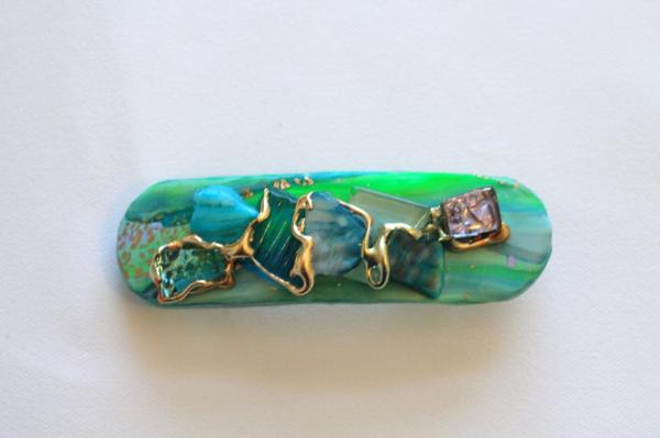 Barrette Hair Clip Mint Green Turquoise Shell Gold