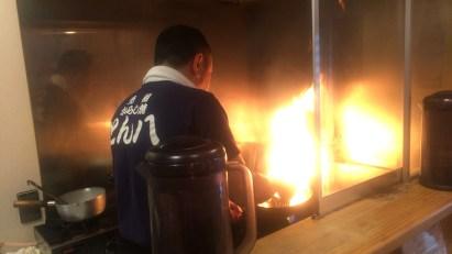 調理中の炎も見所
