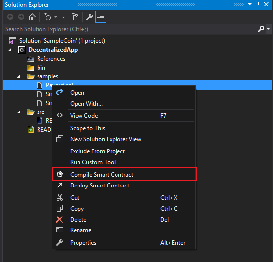 Create Smart Contract Visual Studio
