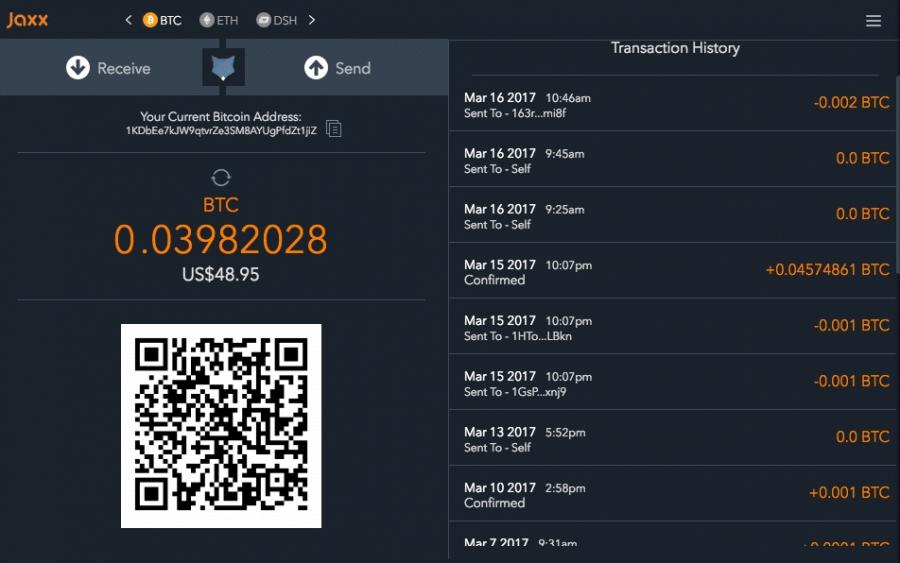 Jaxx Bitcoin Wallet App