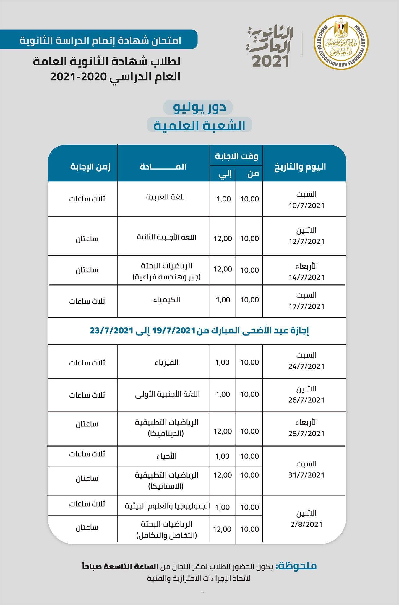 جدول امتحانات الثانوية العامة 2021 علمي