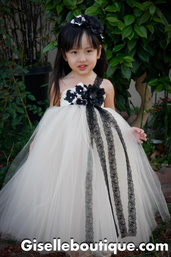 Flower Girl Dress. Mesh With Black Lace Tutu Baby