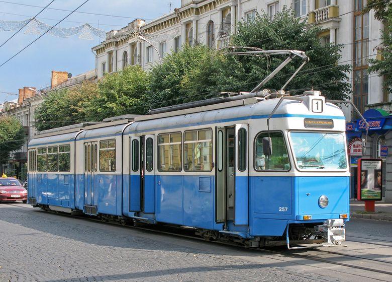 Вінницький трамвай на вулиці Соборній