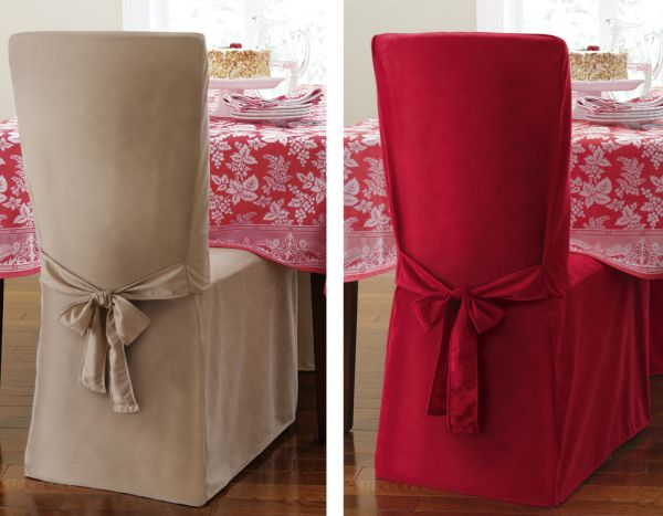 chair cover christmas decorations high back contemporary chairs faux suede holiday dining tieback facebook
