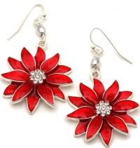 Poinsettia Dangle Earrings Fashion Jewelry | Christmas