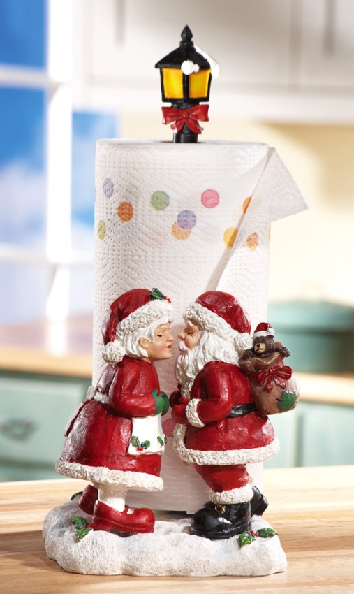 Kissing Mr and Mrs Santa Claus Christmas Paper Towel