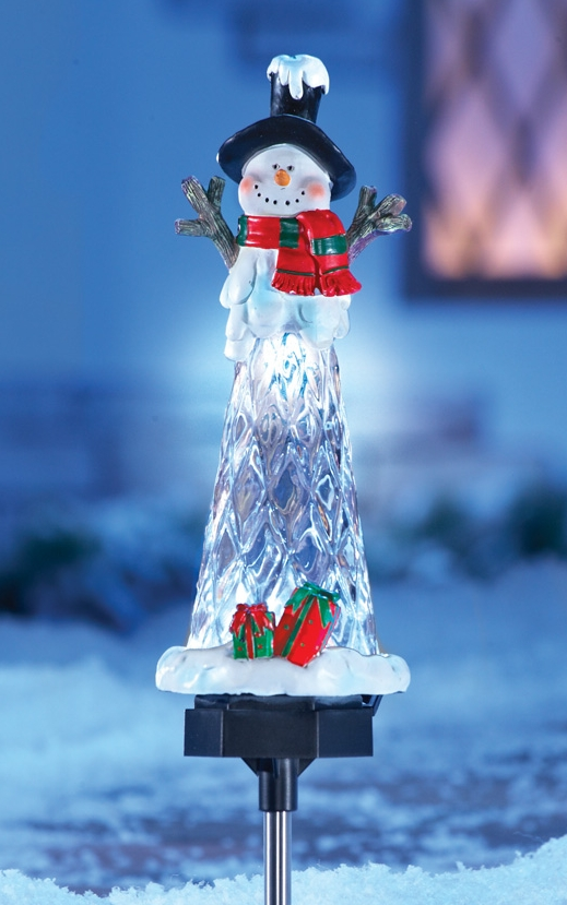 Solar Lighted Snowman Icicle Garden Yard Stake  Christmas