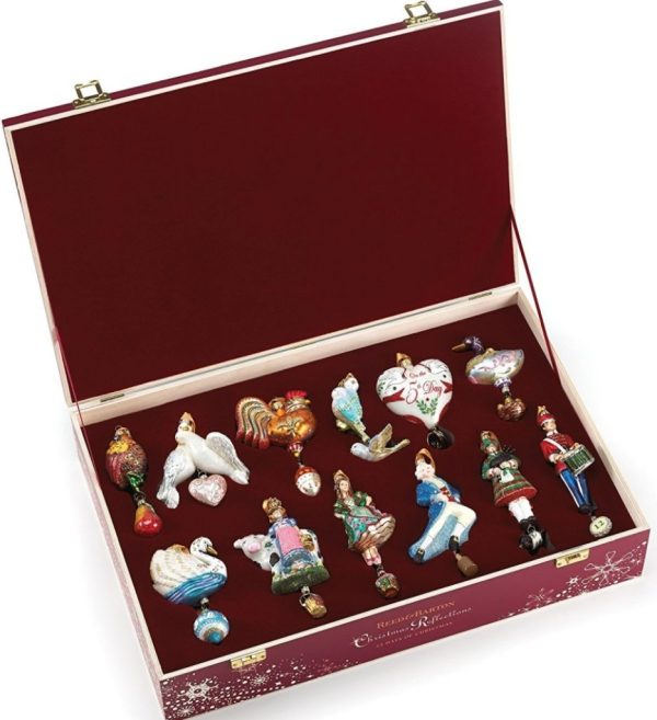 Reed & Barton 12 Days Of Christmas Ornaments Set Twelve Glass Wooden Storage Chest
