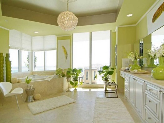 Green Paint Color Idea For Minimalist Bathroom Beige Home Interior Design
