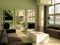 Green Minimalist Living Room Paint Color Scheme