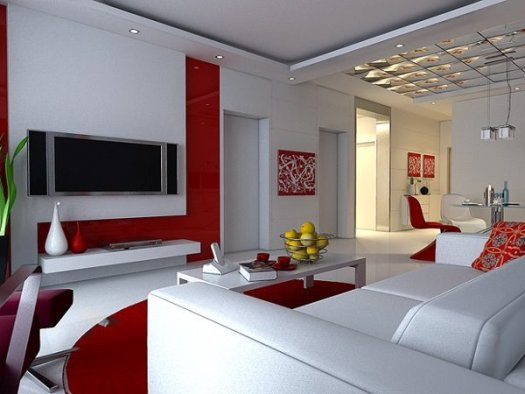 Top White Red Living Room Paint
