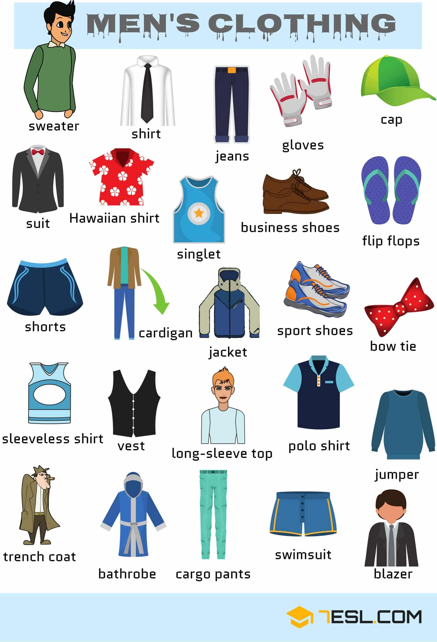 English Vocabulary Clothes Men S Clothing Vocabulary In