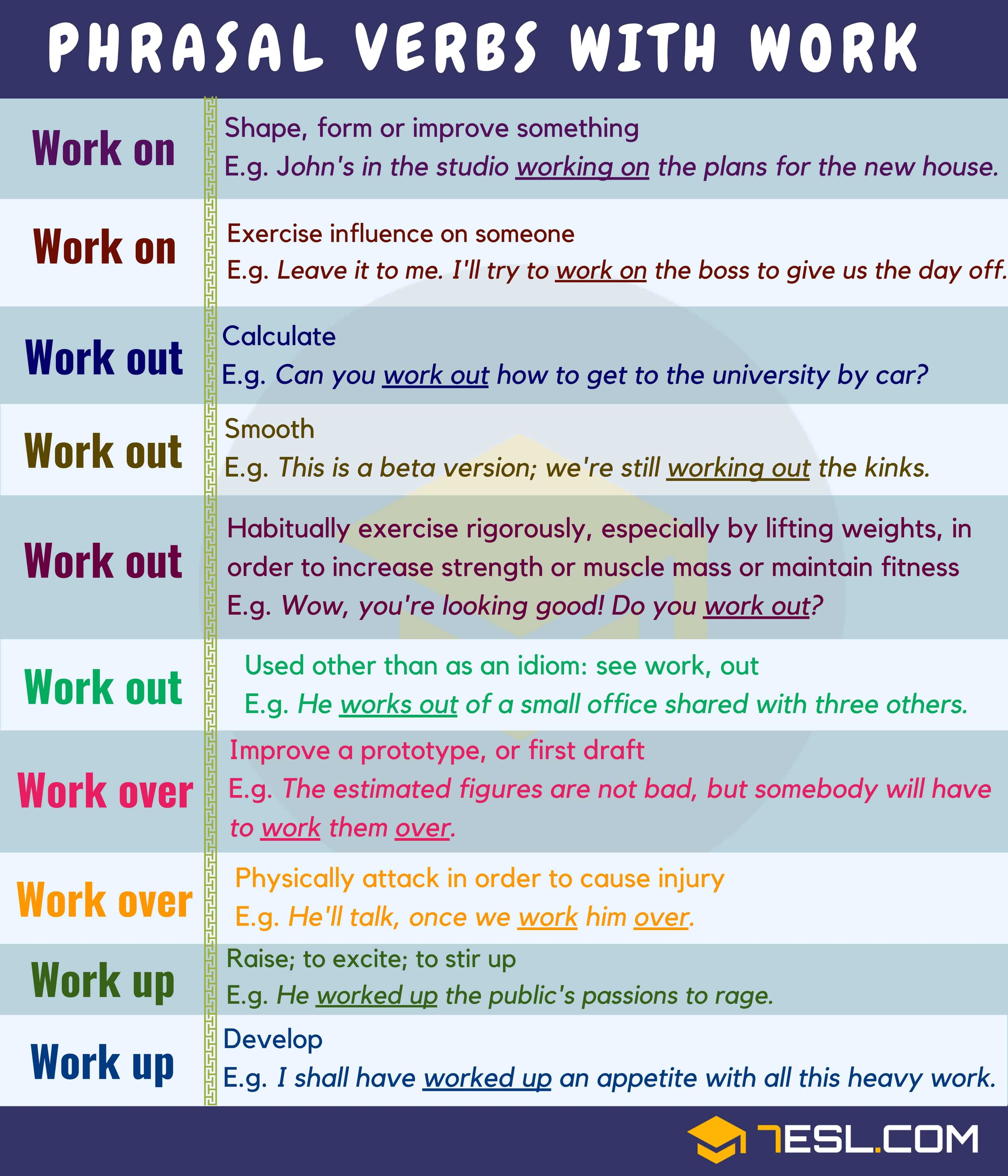 18 Phrasal Verbs With Work Work On Work Out Work