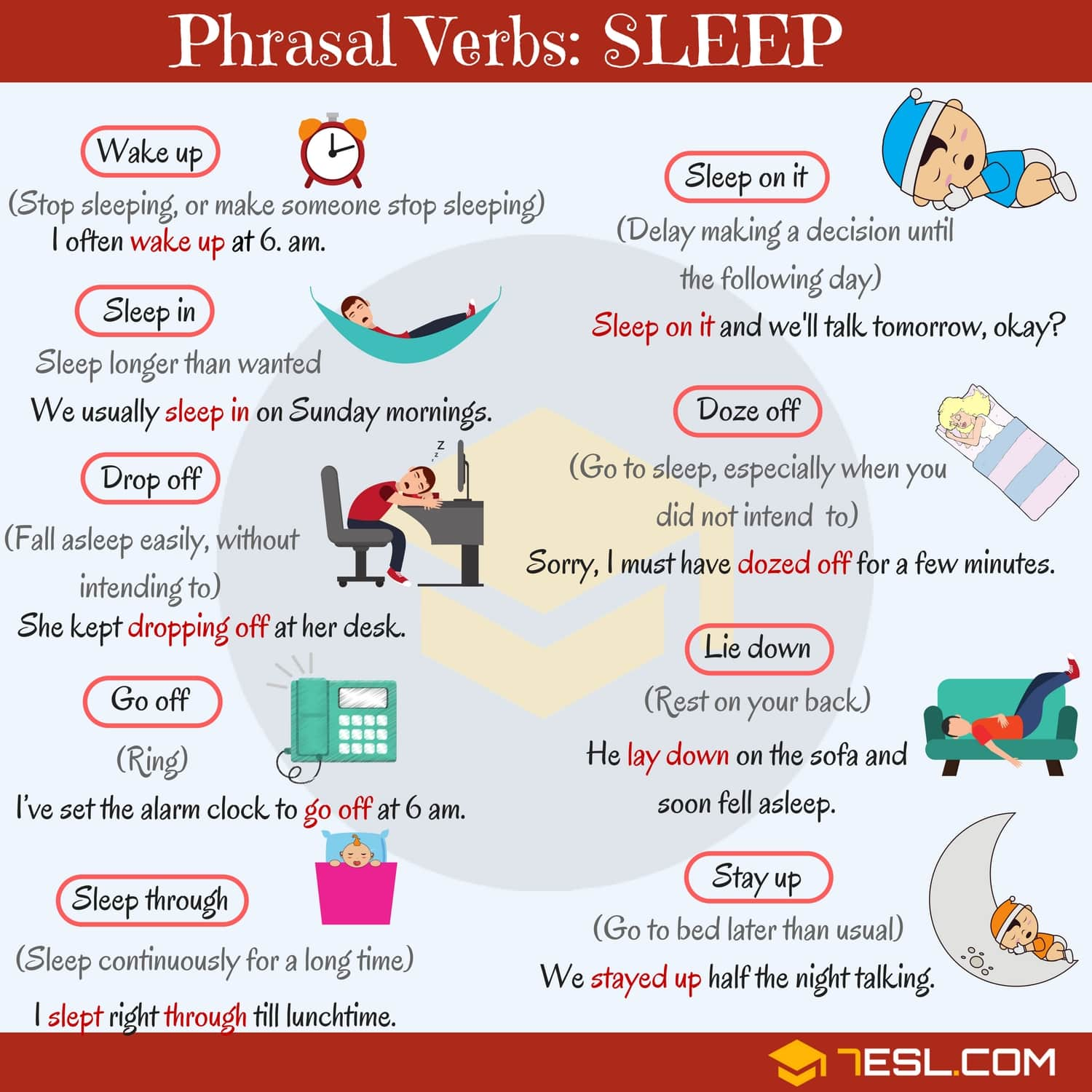 Sleep Vocabulary 12 Common Sleep Phrasal Verbs