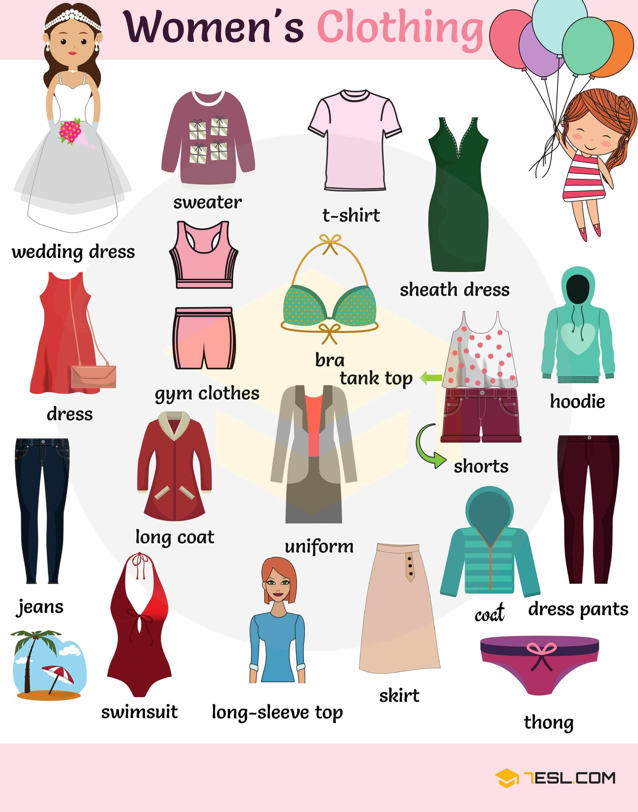 Women S Clothes Vocabulary Clothing Names With Pictures