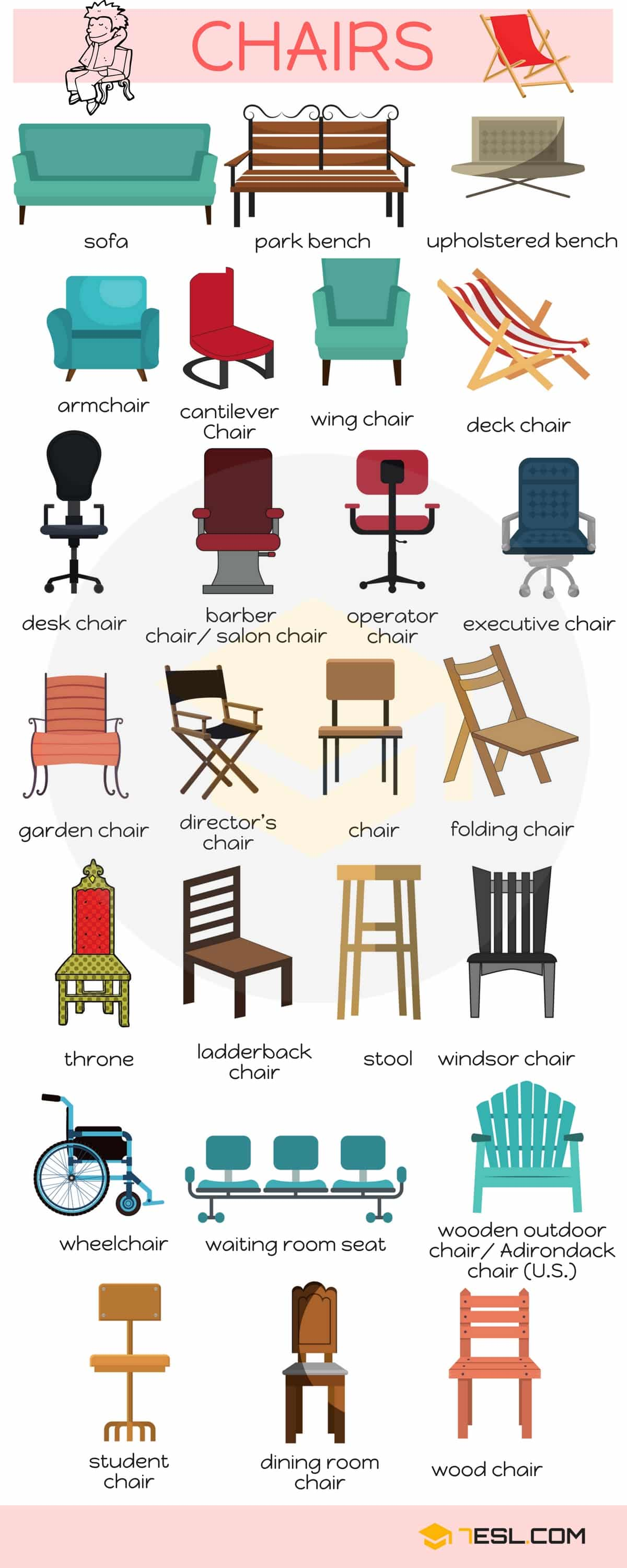styles of chairs names baby rocking chair cushions vocabulary in english 7 e s l