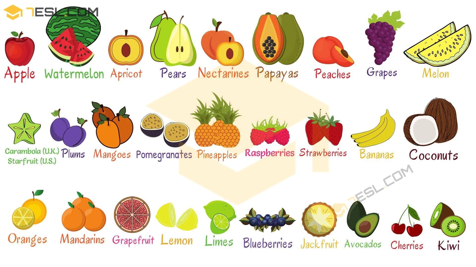 List Of Fruits Useful Fruit Names In English With
