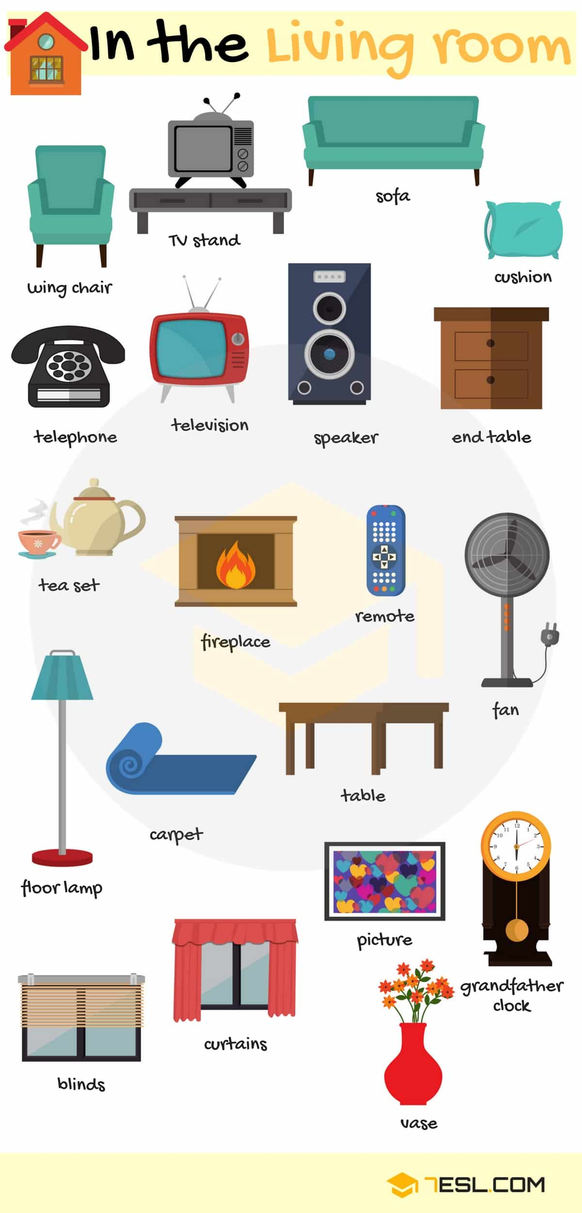 styles of chairs names dining room chair cushion covers furniture vocabulary in english rooms a house 7 e s l