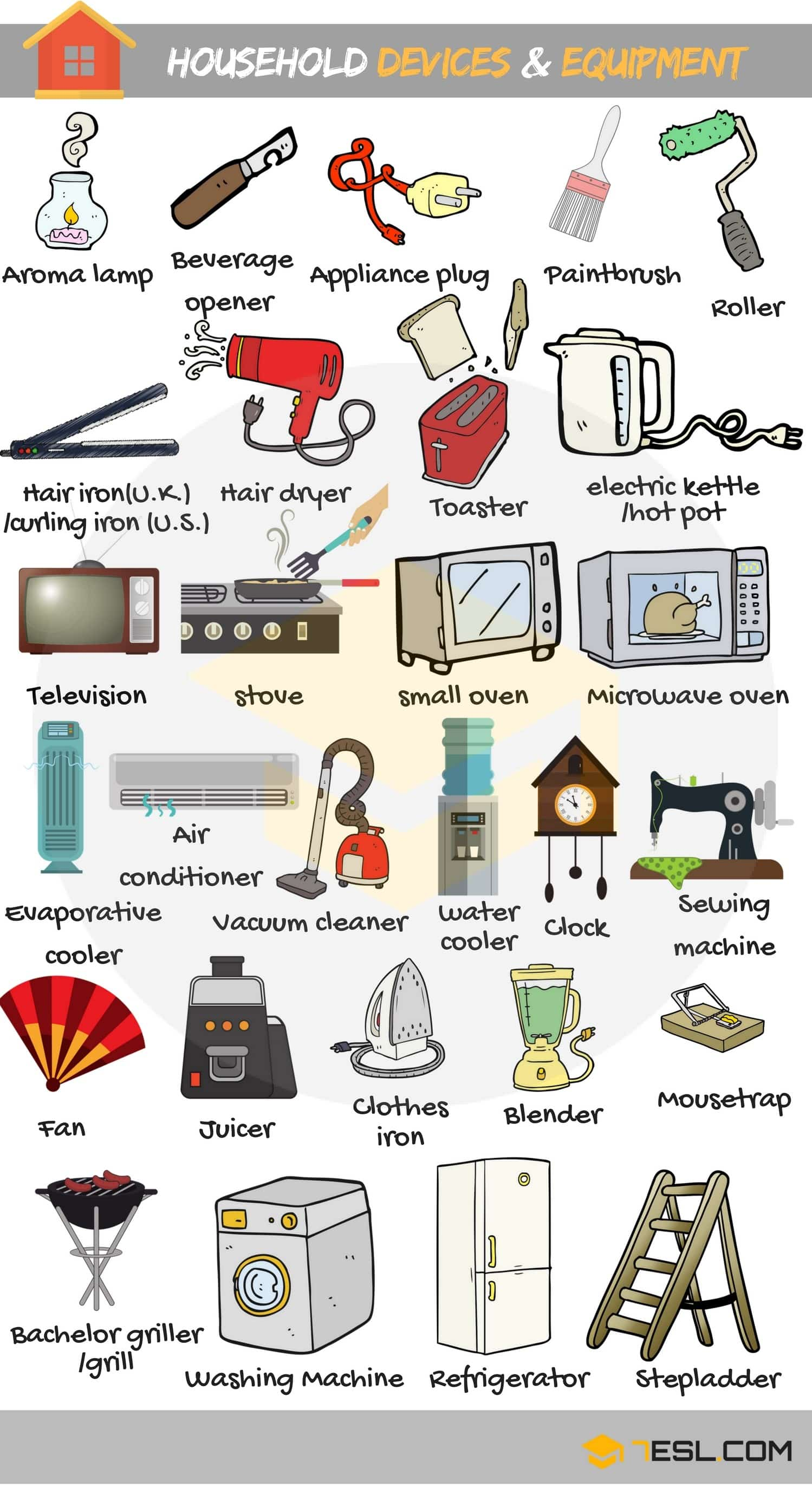 Household Tools Devices And Equipment Vocabulary