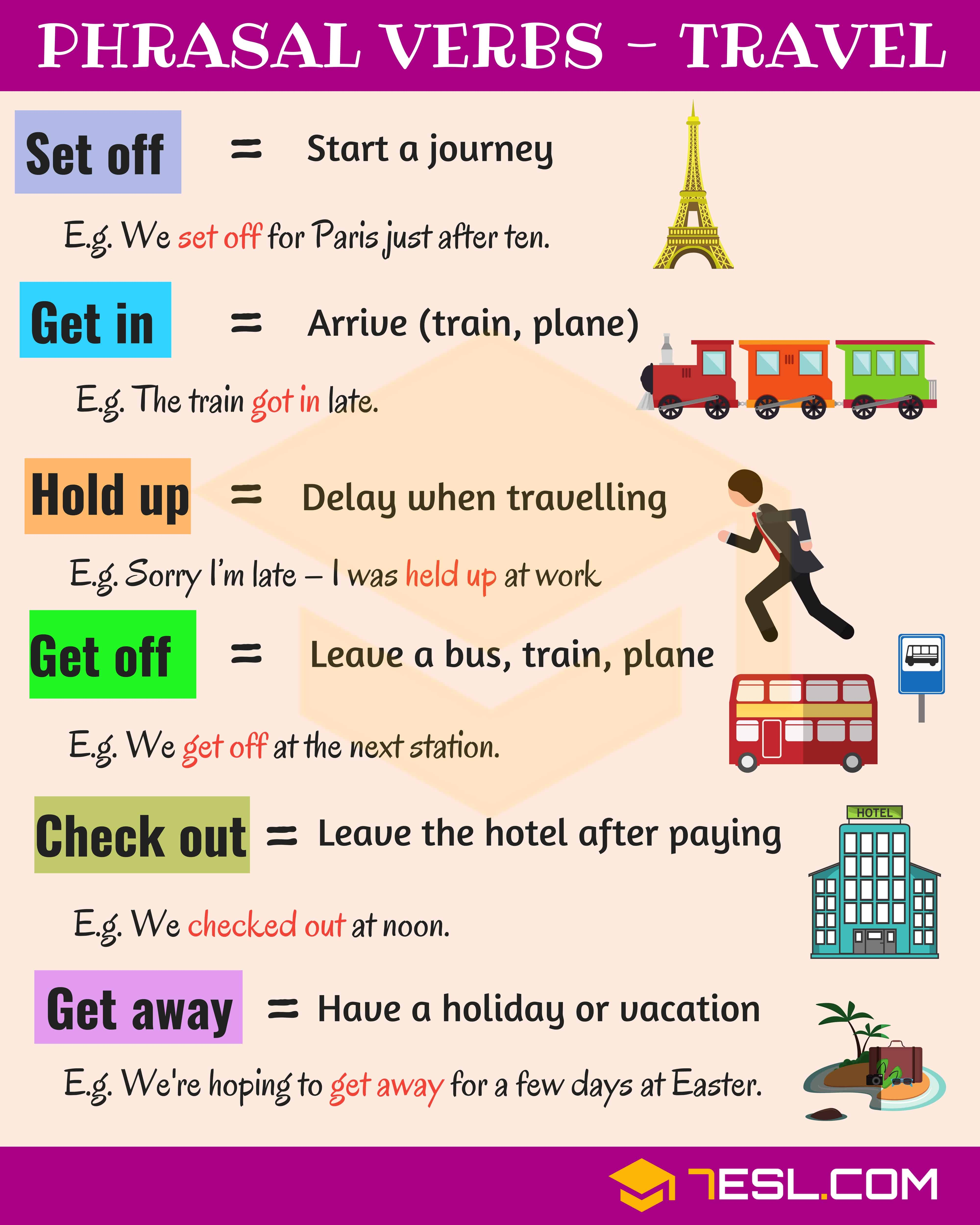 19 Useful Phrasal Verbs For Travel In English