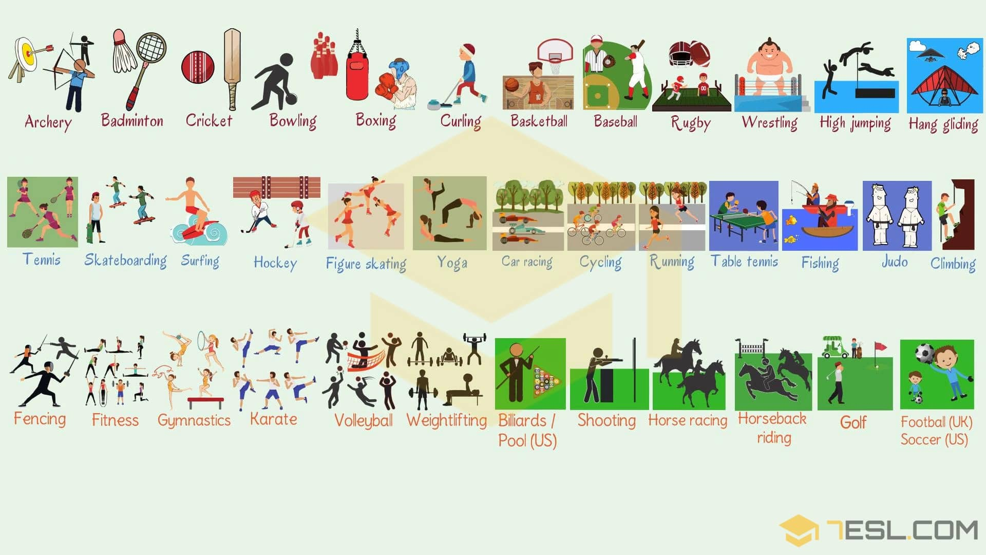 list of sports names