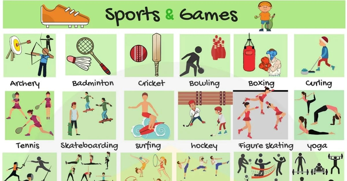 List Of Sports Names Of Sports And Games In English 7 E S L