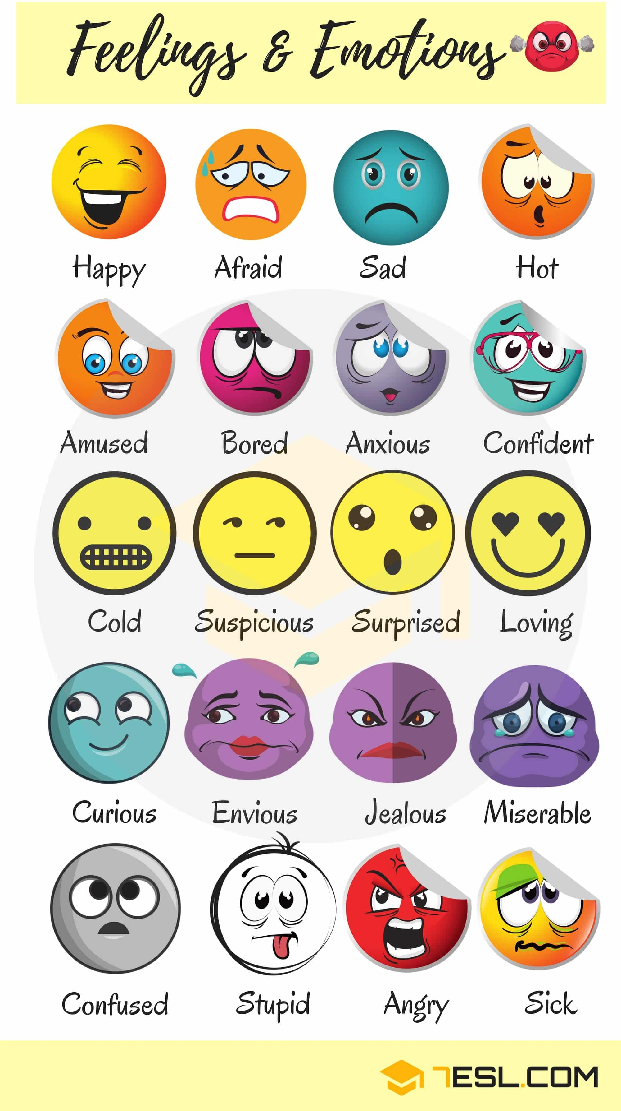 Feeling Words Amp Emotion Words List With Pictures And