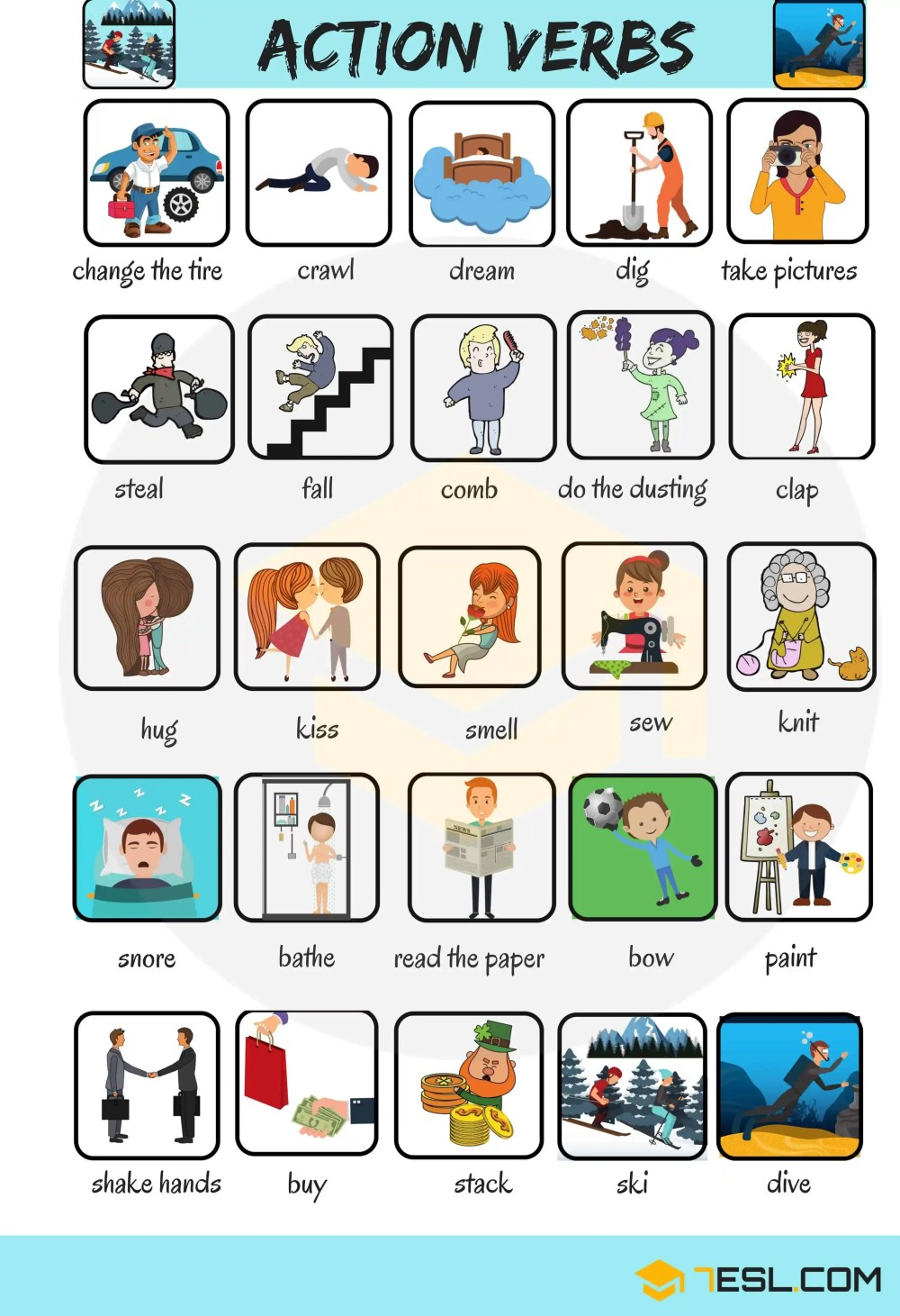 medium resolution of Action Verbs: List of 50 Common Action Verbs with Pictures • 7ESL