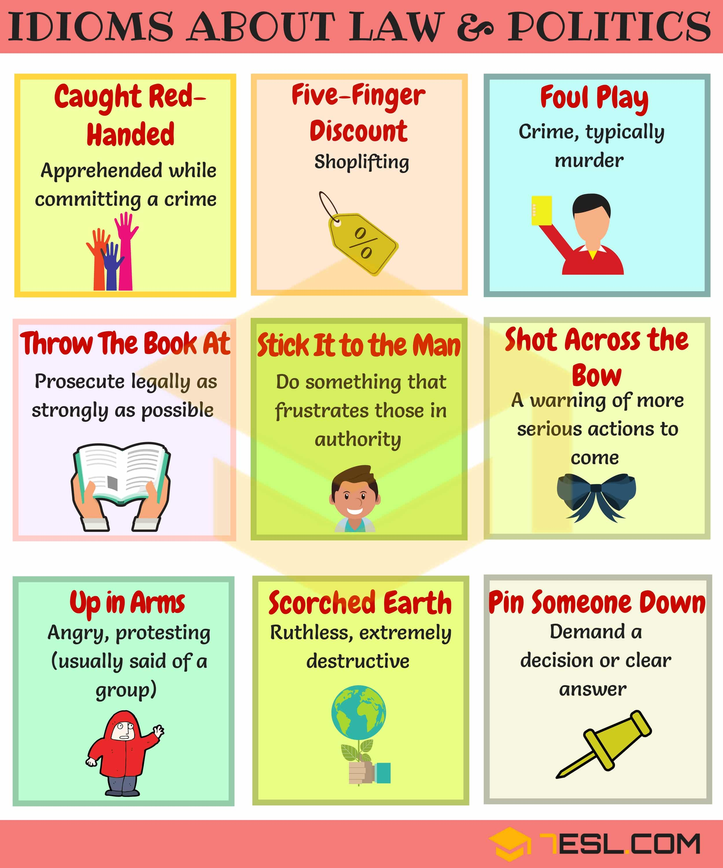 Useful Idioms About Law And Politics In English