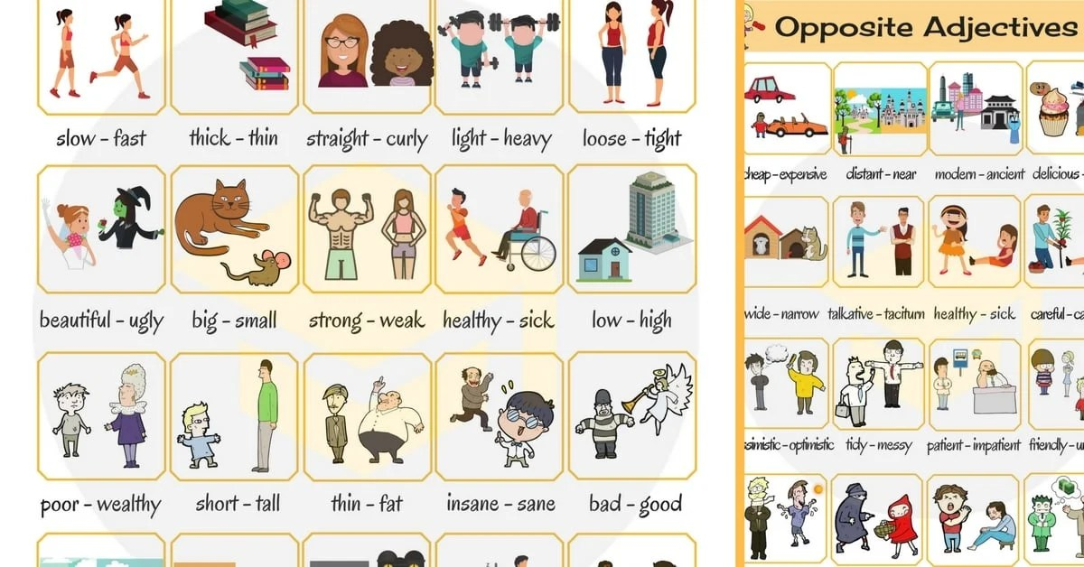 opposite adjectives list of