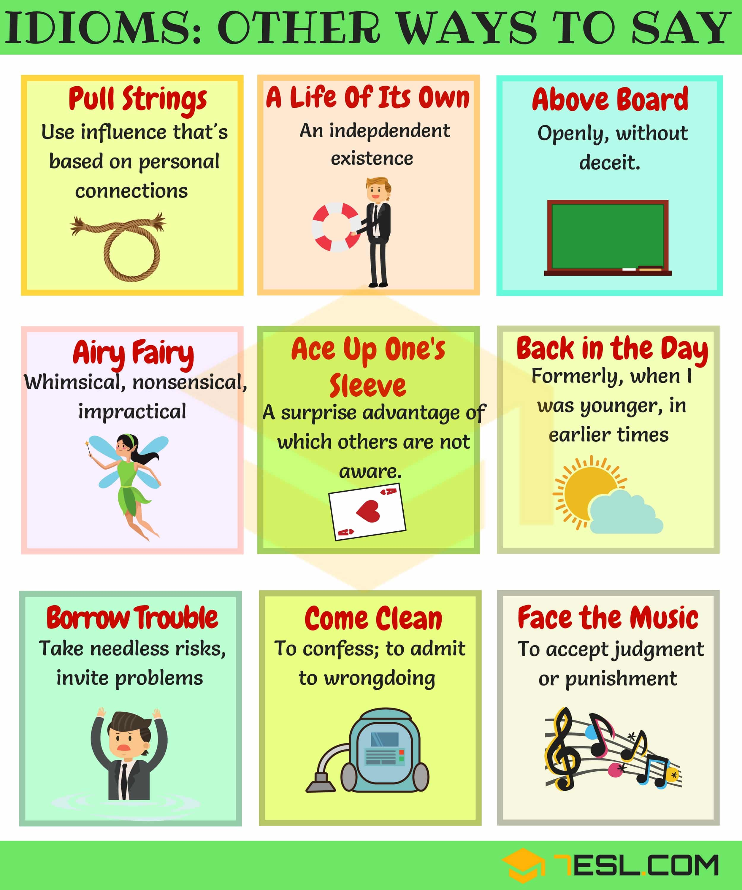 List Of 50 Common English Idioms Other Ways To Say