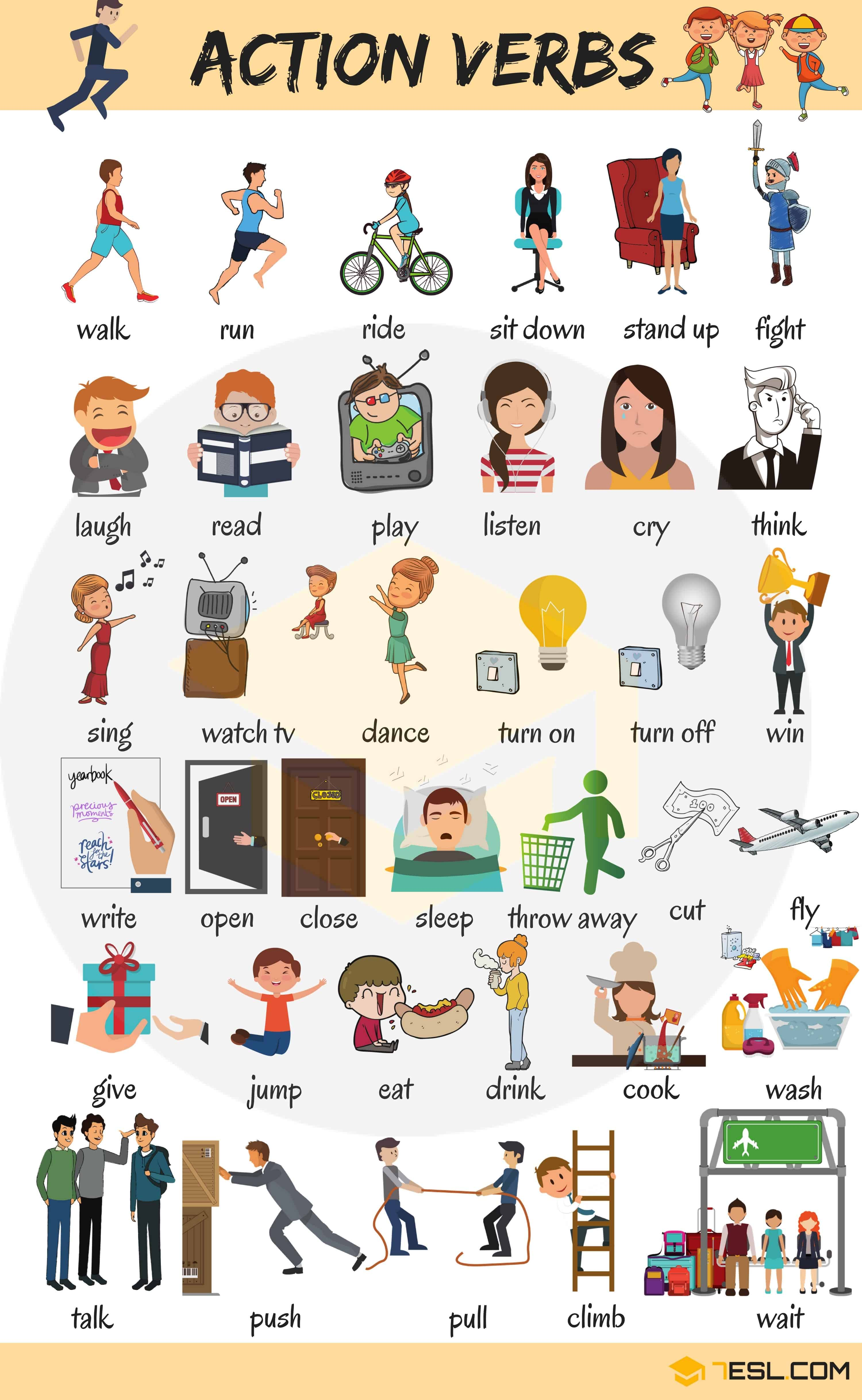 Learn 300 Common Verbs In English With Pictures 7 E S L
