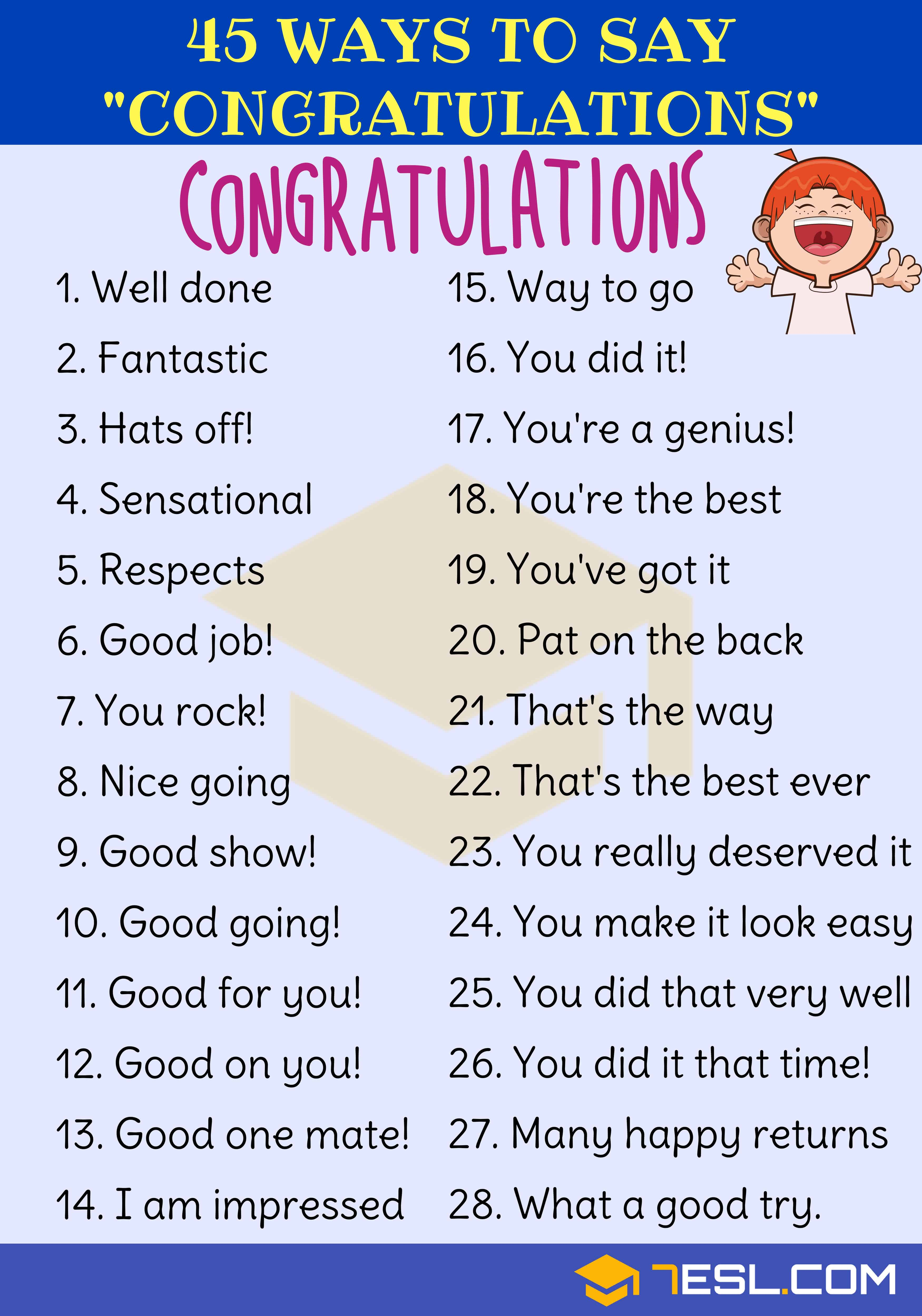 Which Of The Following Is Not A Way To Congratulate Someone : which, following, congratulate, someone, Congratulations, Writing, Speaking, Synonym