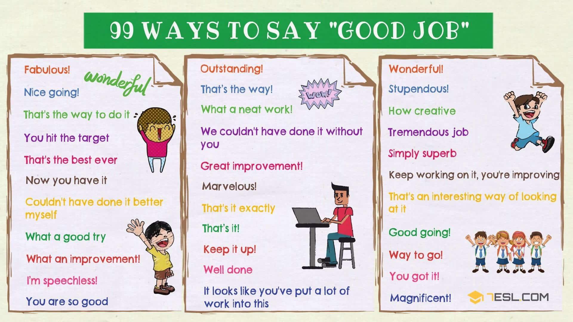Good Job Synonym 99 Ways To Say Good Job In English