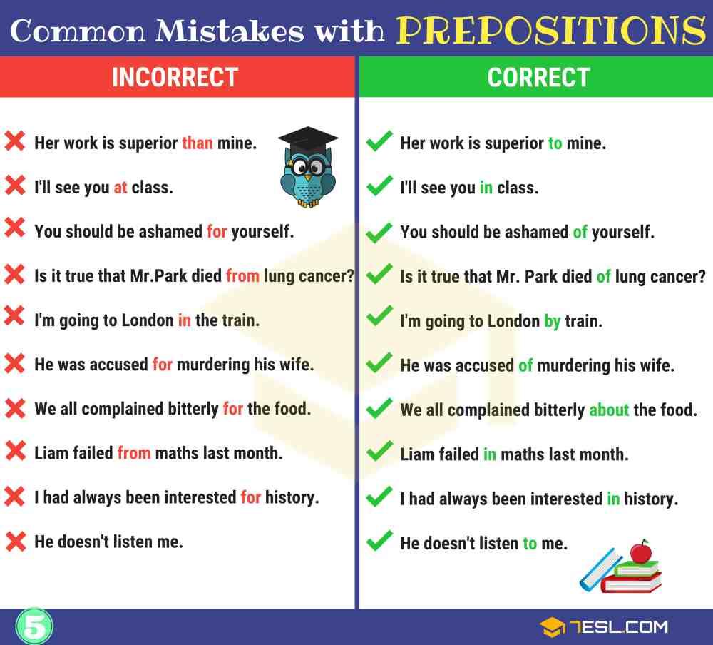 medium resolution of Preposition Errors: 130+ Common MISTAKES With PREPOSITIONS • 7ESL