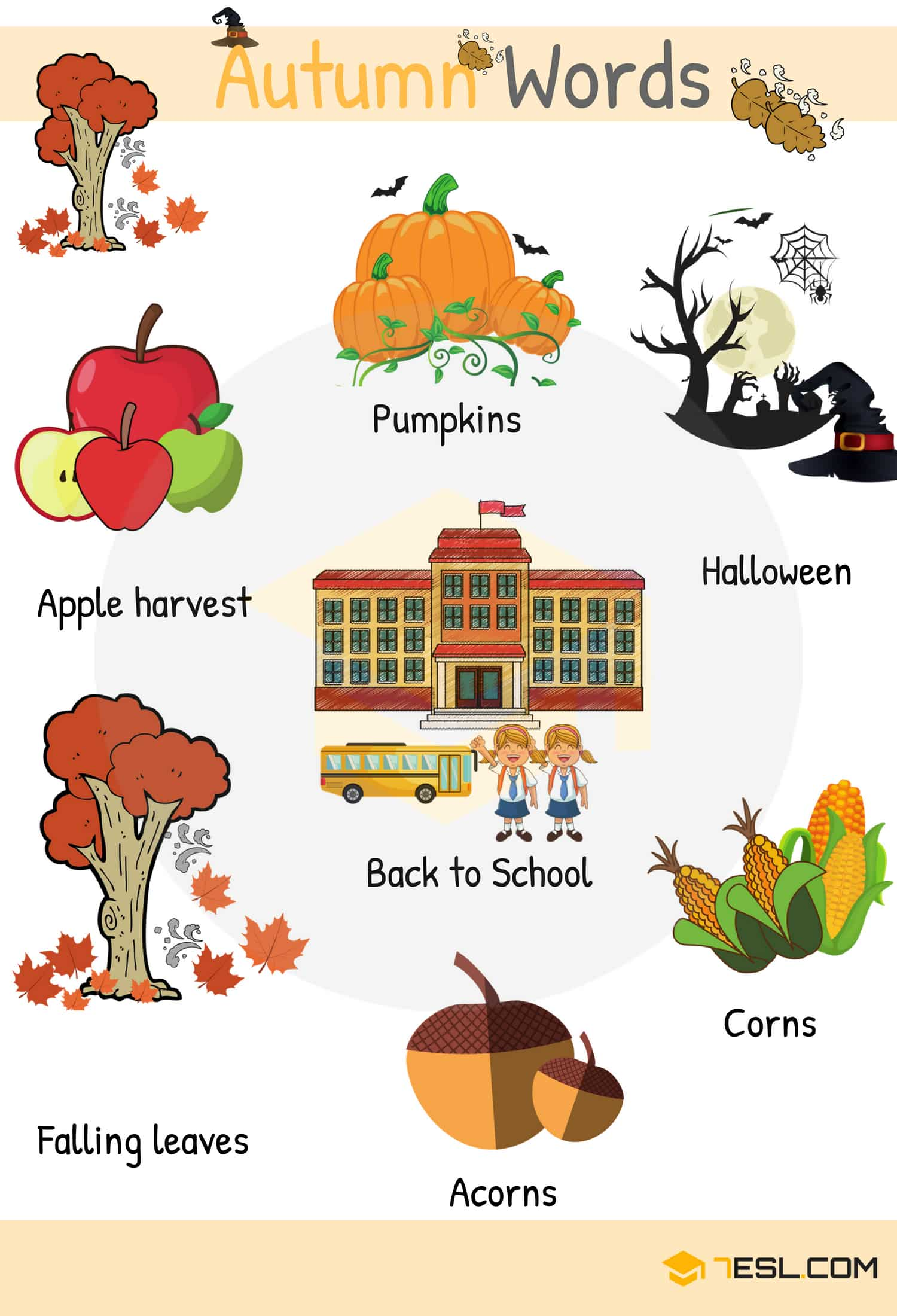 Autumn Words Useful Autumn Vocabulary With Pictures 7esl