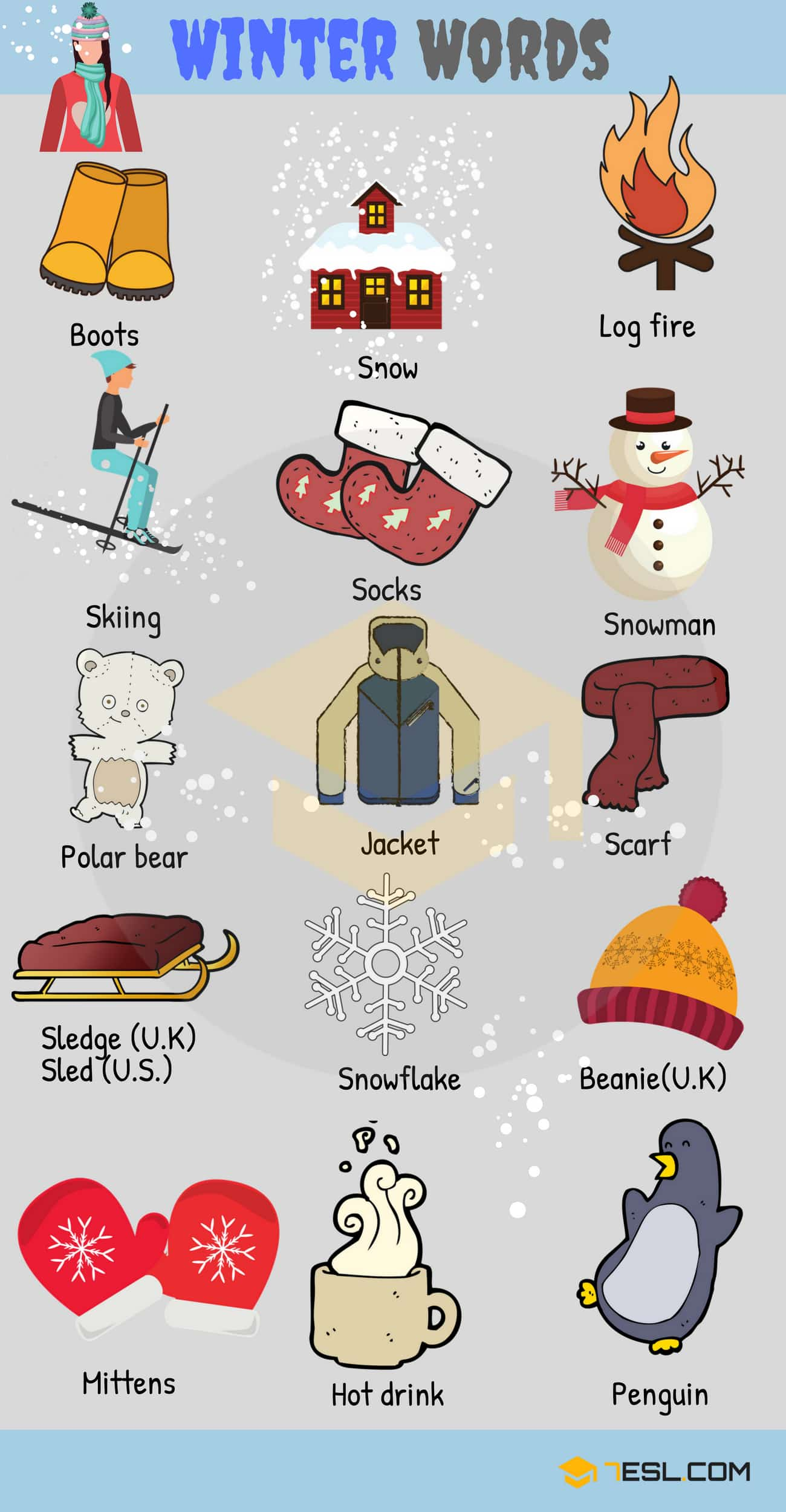 Winter Words Useful Winter Vocabulary With Pictures