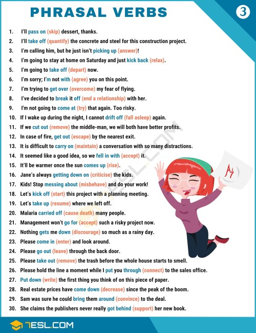 small resolution of 2000+ Phrasal Verbs List from A-Z (to Sound Like A Native!) • 7ESL