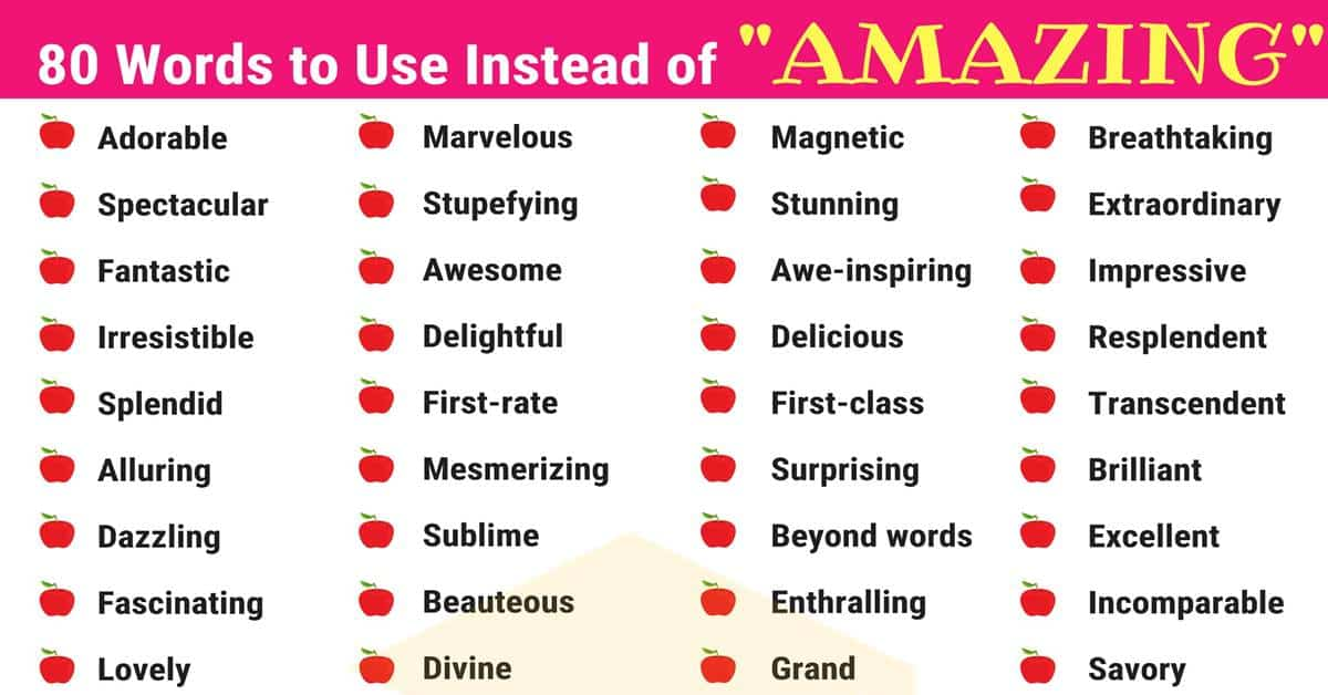 amazing synonyms list of