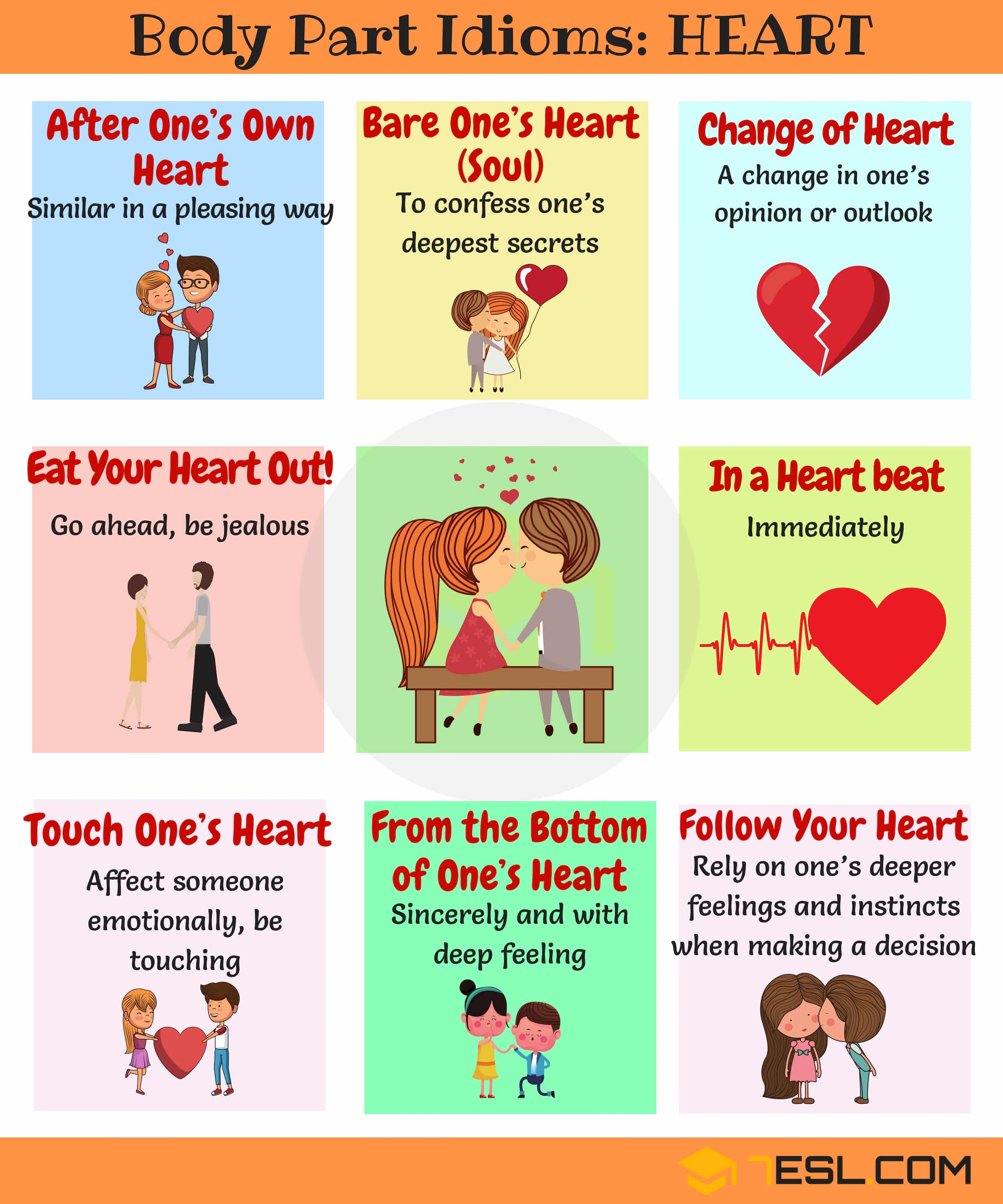 HEART Idioms Useful Heart Idioms Amp Sayings In English 7 E S L