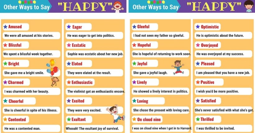 Happy Synonyms 28 For In English 1