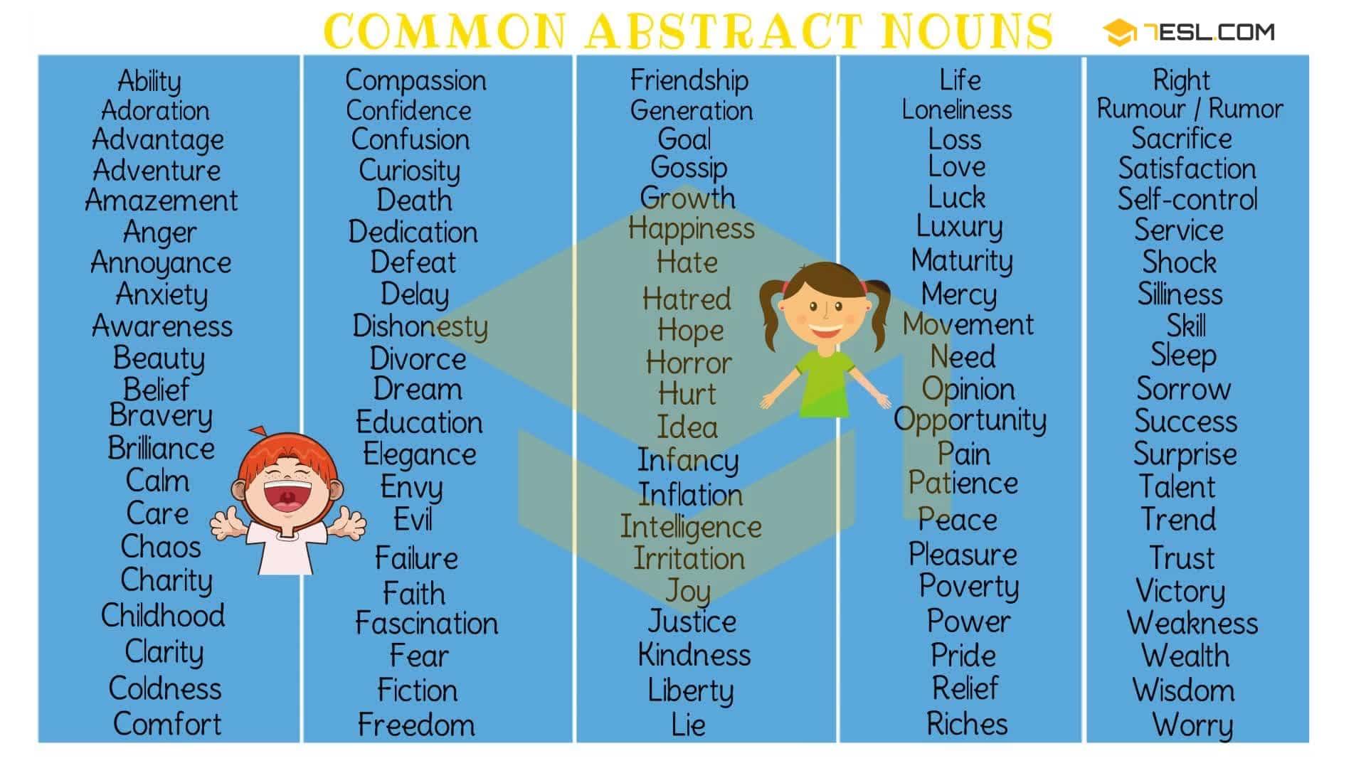 Abstrack Abstract Noun Sentences Examples