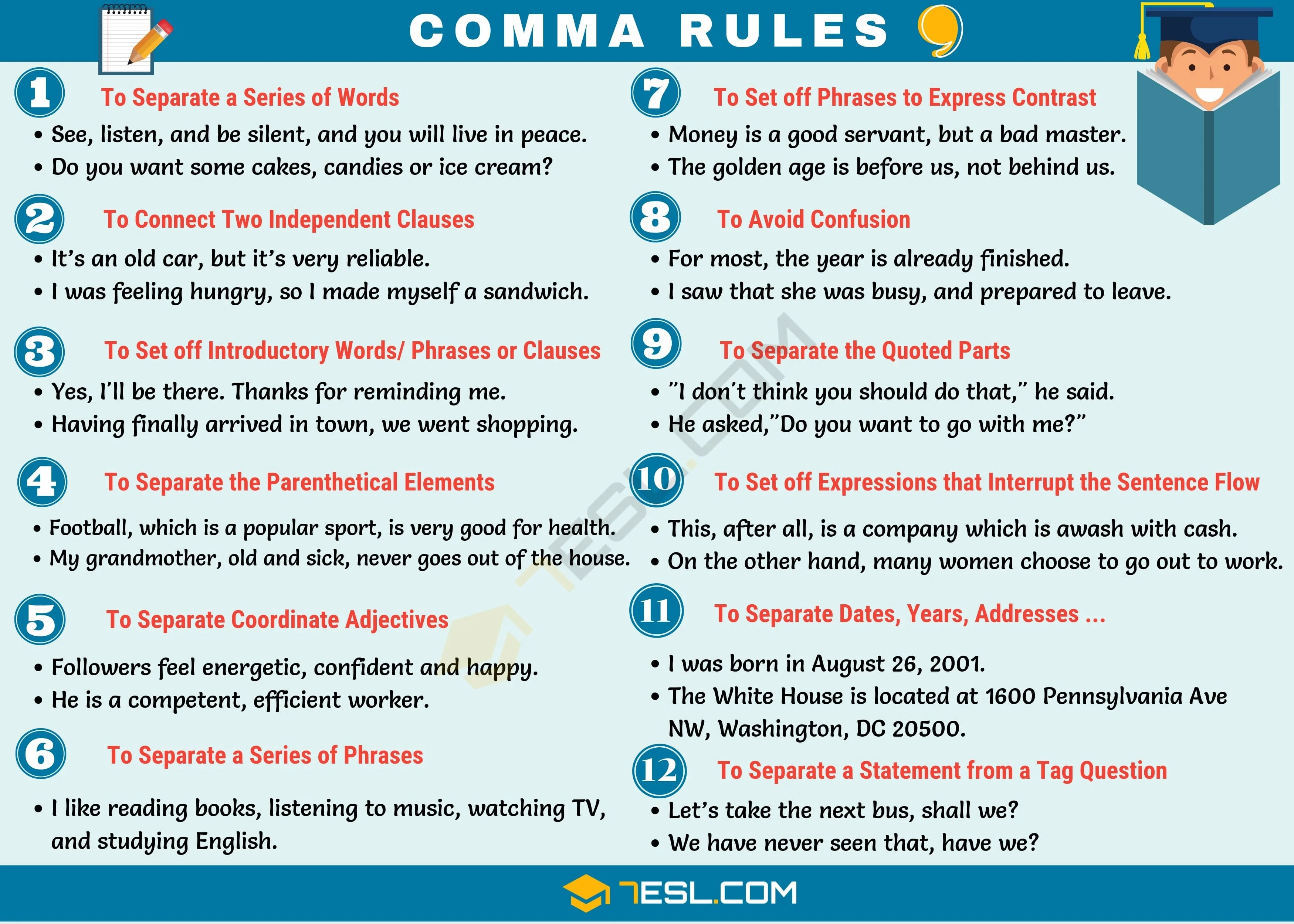 Comma Rules When To Use Commas In English