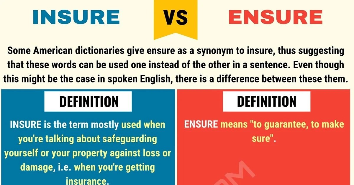 INSURE Vs ENSURE: What's The Difference Between Ensure Vs Insure? - 7 E S L