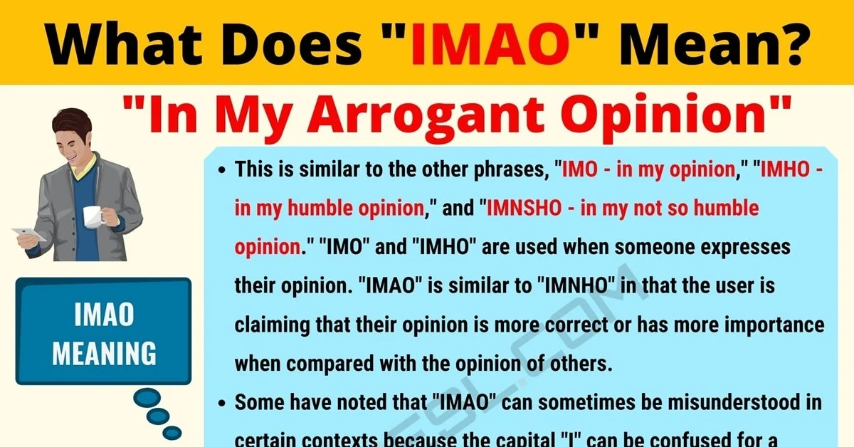 IMAO Meaning: What Does IMAO Mean? Useful Text Conversations - 7 E S L