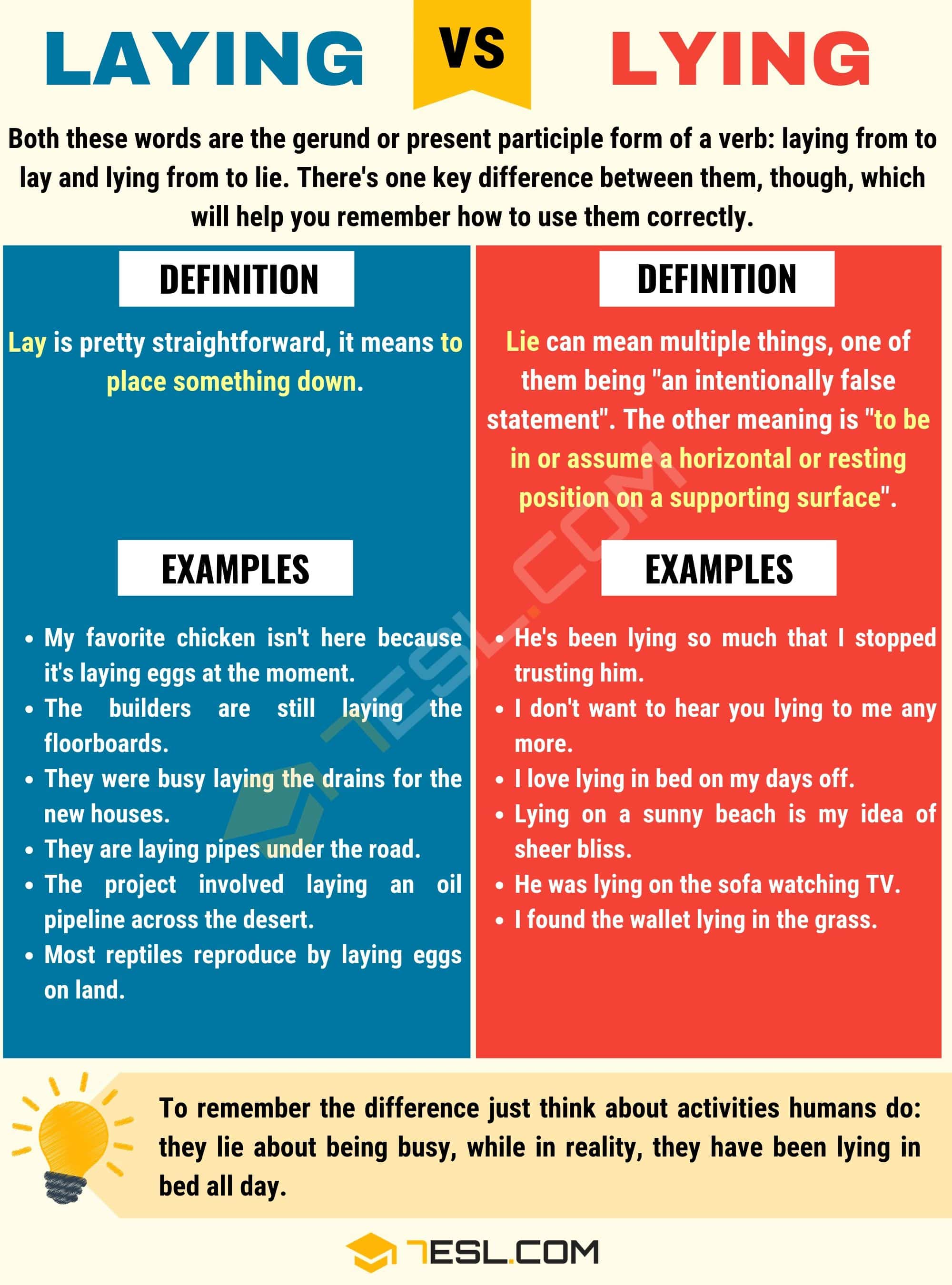 Laying Vs Lying What S The Difference Between Lying Vs