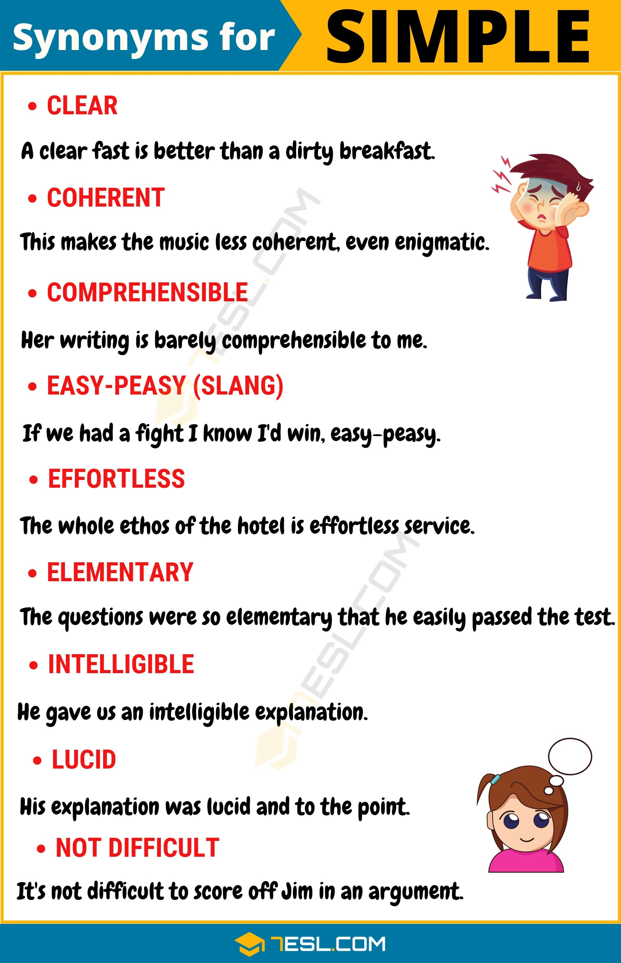 SIMPLE Synonym: List Of 105+ Synonyms For Simple With Useful Examples - 7 E S L