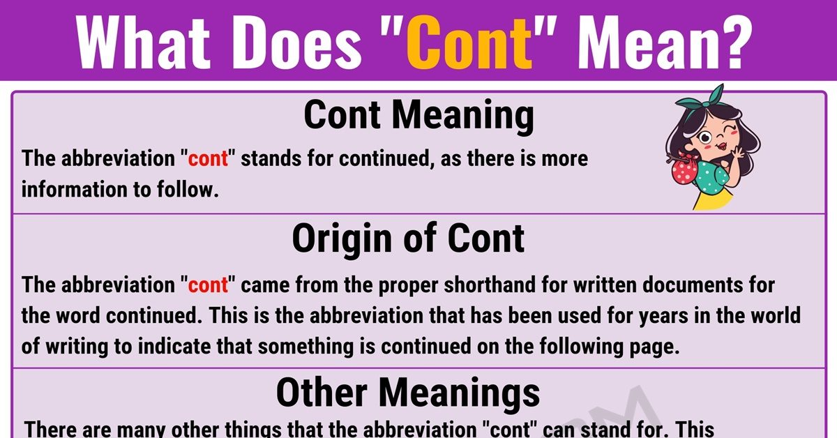 Cont Meaning: What Does Cont Mean? With Useful Examples - 7 E S L